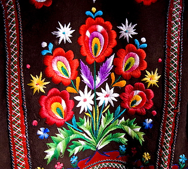 Traditional, handcrafted textile bearing an edelweiss design at a museum in Zdiar, High Tatra Mountains, Slovakia, Europe