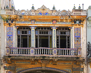 Facade of a historical colonial building in the old part of Havana, Cuba, Caribbean