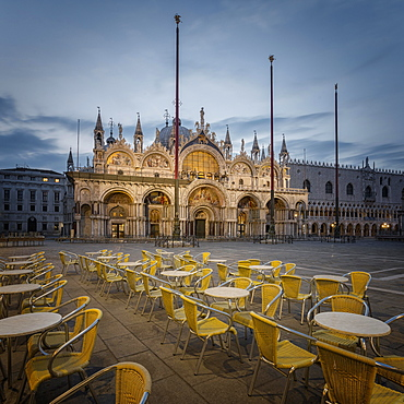 St. Mark's Square with Clock Tower and St. Mark's Cathedral, Basilica di San Marco, Venice, Veneto, Italy, Europe