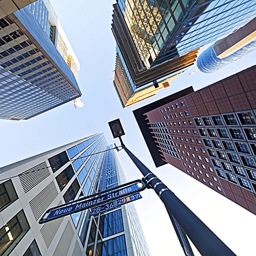 Frog's eye view of skyscrapers in the banking district, Neue Mainzer Strasse, Frankfurt am Main, Hesse, Germany, Europe