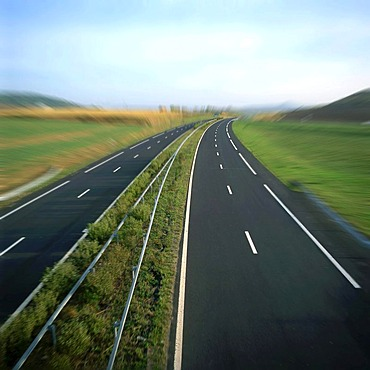 An empty highway, central France, Europe