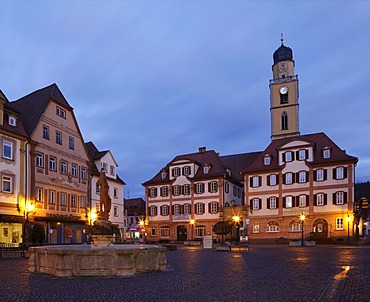 Marktplatz square with twin houses and the tower of the Cathedral of St. John Baptist, Bad Mergentheim, Tauber, Hohenlohe, Baden-Wuerttemberg, Germany, Europe
