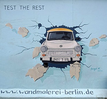 Test the Rest, Trabant breaking through the Berlin Wall, by Birgit Kinder, painting on the Berlin Wall, East Side Gallery, Berlin, Germany, Europe