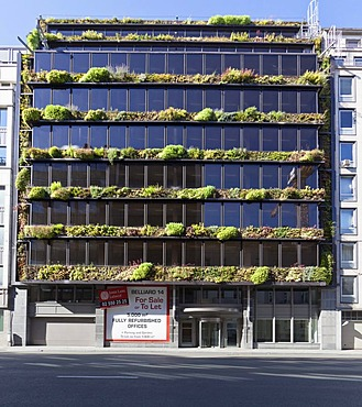 Commercial building with green plants, Brussels, Brabant, Belgium, Europe
