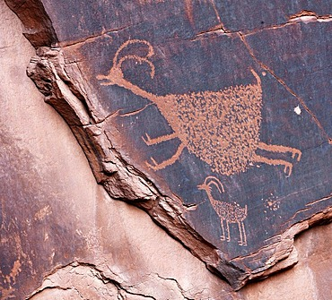 Petroglyphs etched in sandstone, symbols, prehistoric and historic rock art, wall drawings by the Anasazi Native Americans, Monument Valley, Navajo Tribal Park, Navajo Nation Reservation, Arizona, Utah, United States of America, USA