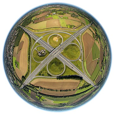 Aerial view, fisheye shot, ADAC monument to honour the Yellow Angels, artist Alex Gockel, at the Kamener Kreuz, cross junction of the A1 and A2 motorways, Kamen, Ruhr Area, North Rhine-Westphalia, Germany, Europe
