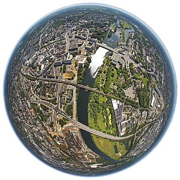 Aerial view, shot with a fisheye lens, rebuilding in the city centre, Ruhrbania project, Muelheim an der Ruhr, Ruhr area, North Rhine-Westphalia, Germany, Europe