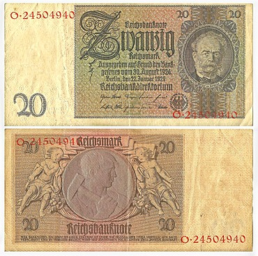 Old banknote, front and rear, Reichsbanknote, 20 reichsmark, Reichsbankdirektorium, circa 1929