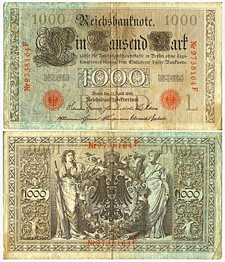 Old banknote, front and rear, Reichsbanknote, 1000 reichsmark, Reichsbankdirektorium, circa 1910