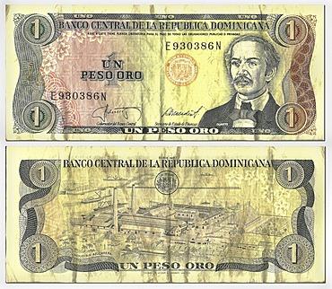 Old banknote, front and rear, 1 peso oro, Dominican Republic, Banco Central Republica Dominicana, around 1987