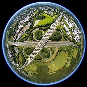 Aerial view, fisheye, motorway junction of the A45 Sauerlandlinie and the A4 autobahns, Soest, Sauerland, North Rhine-Westphalia, Germany, Europe