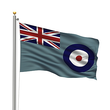 Flag of the UK Royal Air Force waving in the wind