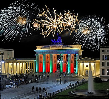 Brandenburger Tor, Brandenburg Gate, Pariser Platz square, New Year's Eve fireworks display, Berlin, Germany, Europe, digital composition