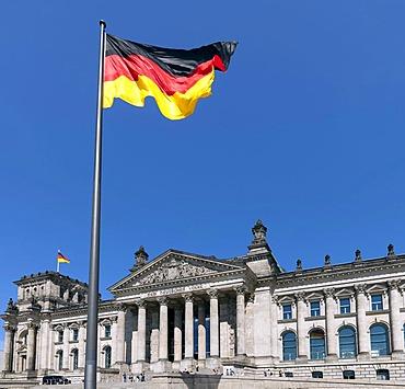 German Flag, Reichstag, Berlin, capital of Germany, Europe