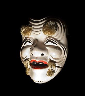 Ko-Chichinojyo, an old traditional mask from the Japanese Noh Theater, Ostasiatika-Sammlung Ehrich East Asia exhibition, Haus Kemnade, Hattingen, North Rhine-Westphalia, Germany, Europe