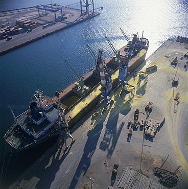 Aerial photograph of A ship unloads its cargo at Ashdod Port, Israel