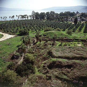 Aerial photograph of the ruins of Minim by the Sea of Galilee, Israel