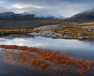 The mountain Quinag viewed across a lochan, near Inchnadamph, Sutherland, Scotland, United Kingom, Europe
