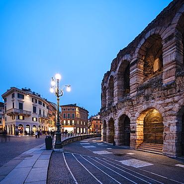 Piazza Bra and Roman Arena at night, Verona, Veneto Province, Italy, Europe