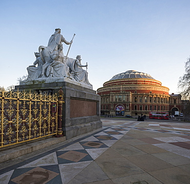 Exterior of the Royal Albert Hall from The Albert Memorial, Kensington, London, England, United Kingdom, Europe