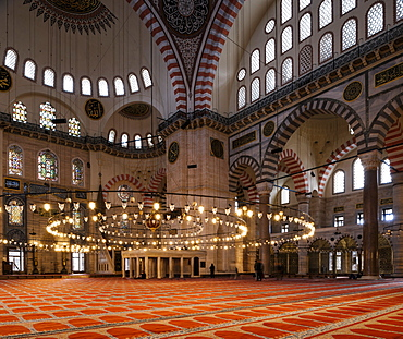 Interior of Suleymaniye Mosque, UNESCO World Heritage Site, Istanbul, Turkey, Europe