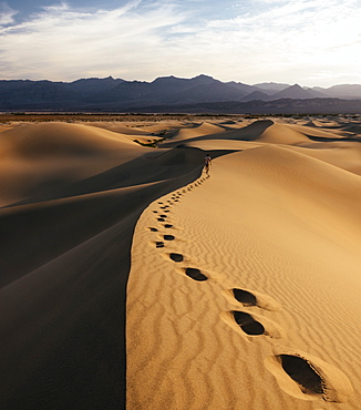 Man walking through Mesquite Sand Dunes at dawn, Death Valley National Park, California, United States of America, North America