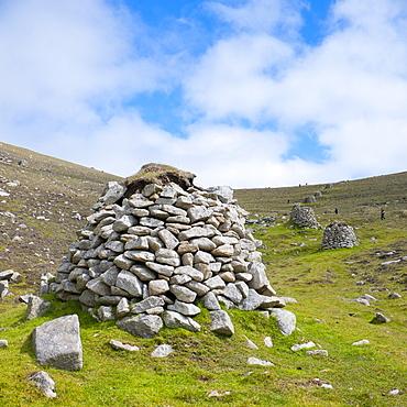 Cleits, Village Bay, Hirta Island, St. Kilda Islands, Outer Hebrides, Scotland, United Kingdom, Europe