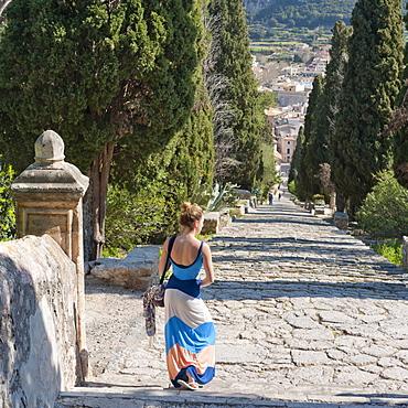 Famous 365-step stairway to the chapel Calvari, Pollenca, Tramuntana, Mallorca, Balearic Islands, Spain, Europe