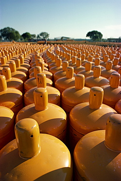 Canisters of bottled gas near Khour, Pakistan, Asia
