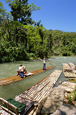 Tourist rafting trips on the Martha Brae River, Jamaica, West Indies, Caribbean, Central America