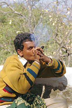 Smoking near Deogarh, Rajasthan, India