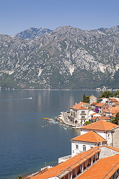 View from St. Nicholas Church of Perast, Bay of Kotor, UNESCO World Heritage Site, Montenegro, Europe