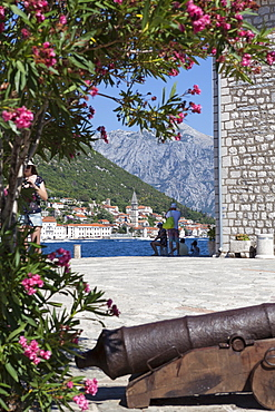 Views of Perast from Our Lady of the Rocks, Bay of Kotor, UNESCO World Heritage Site, Montenegro, Europe