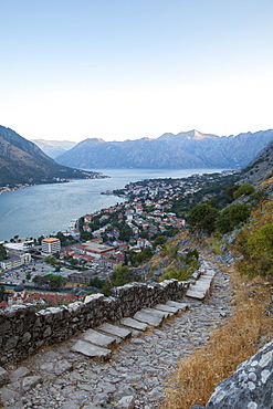 Kotor Old Town and fortifications at sunrise, Bay of Kotor, UNESCO World Heritage Site, Montenegro, Europe