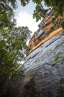 A view from the base of Sigiriya (Lion Rock), UNESCO World Heritage Site, Sri Lanka, Asia