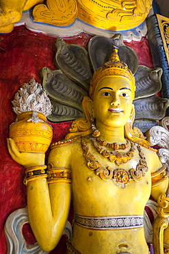 Wall carving of Buddhist icon, Temple of the Sacred Tooth Relic, UNESCO World Heritage Site, Kandy, Sri Lanka, Asia