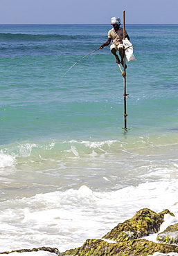 Stilt fisherman using traditional fishing techniques on a wooden pole, Weligama, Sri Lanka, Indian Ocean, Asia