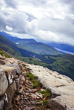 A view from the Mountain Track (Tourist Route), Ben Nevis, Highlands, Scotland, United Kingdom, Europe