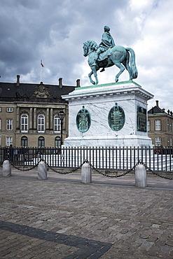 King Frederick V on horseback statue in the grounds of the Royal Castle (Amalienborg), Copenhagen, Denmark, Scandinavia, Europe