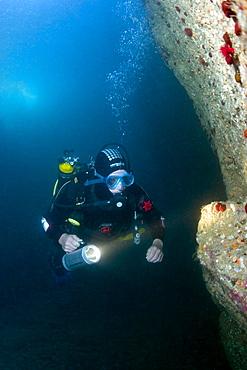 Diver exploring caves