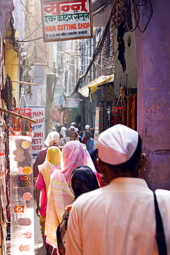 A busy street in the oldtown area of Varanasi, India