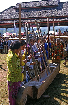 Kasepuhan women symbolically pounding rice at the annual rice festival Seren Tahun, West Java, Indonesia