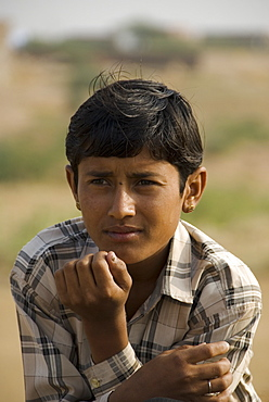 Local boy from the rural village of Keechen, Rajasthan, India
