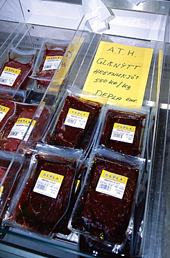 Locally caught whale meat in Reykjavik flea market (2004) after the resumption of commercial whaling in Iceland.