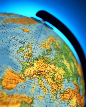 Close-up of the continent of Europe on a world globe