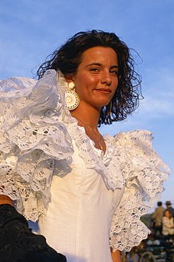Woman in flamenco dress, April Fair, Seville, Andalucia, Spain, Europe