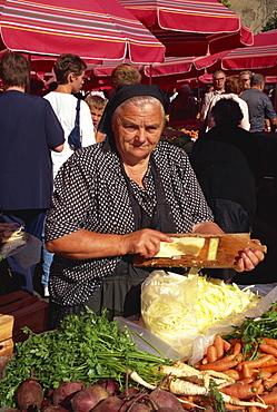 Lady grating cabbage, Dolac market, Zagreb, Croatia, Europe