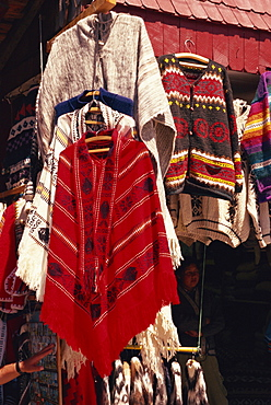 Ponchos for sale, Angelmo craft market, Puerto Montt, Chile, South America