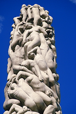 Detail of sculpture of figures on the central stele in Frogner Park (Vigeland's Park), Oslo, Norway, Scandinavia, Europe