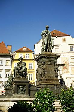 Statue of Archduke Johann, moderniser of Graz, and nymphs at base symbolising Styria's rivers, Hauptplatz, Graz, Styria, Austria, Europe